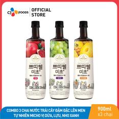 [Freeship + Combo 2 giảm 5% + Voucher 30k] Combo 3 chai Nước trái cây đậm đặc lên men tự nhiên Micho CJ Foods 900ml vị dứa, lựu, nho xanh