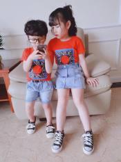Bộ đồ quần jean, váy jean + áo phông cho bé