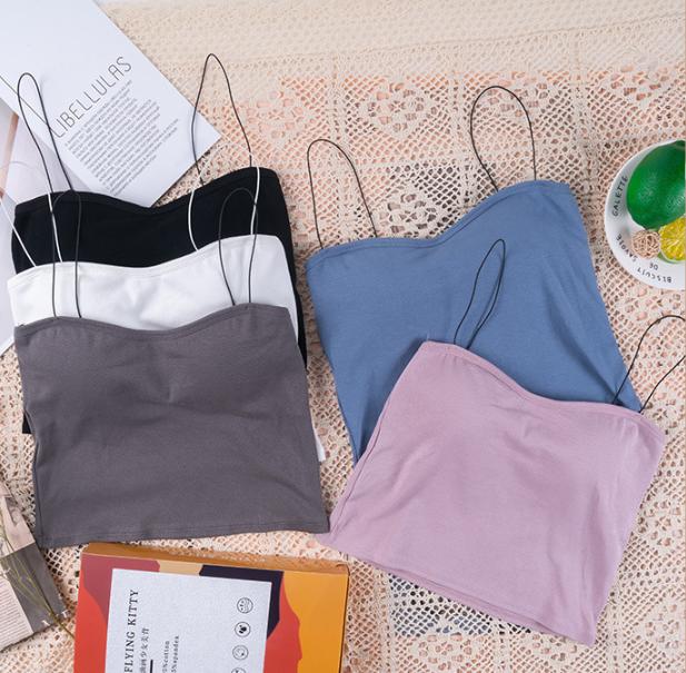 Áo bra 2 dây mảnh dáng lửng cotton mềm mịn co giãn siêu hot – áo ngực đẹp