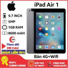Máy tính bảng Apple IPAD AIR 1 – 16GB 4G + WIFI RAM 1GB CAMERA 5MP PIN 8600mAH – LÊN MẠNG SIM 4G HOẶC WIFI ĐỀU ĐƯỢC CHƠI GAME ONLINE LÊN MẠNG TỐT TẶNG BAO DA PHỤ KIỆN