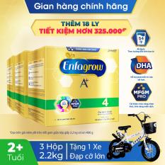 [GIẢM THÊM 100K] [FREESHIP HỎA TỐC HCM&HN] Bộ 3 hộp sữa bột Enfagrow 4 cho trẻ trên 2 tuổi 2.2kg (4 túi thiếc 550g) + Tặng 1 xe đạp cực ngầu