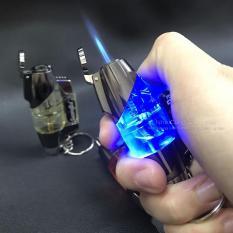 Bật lửa gas khò móc khóa có LED màu xanh đẹp mắt