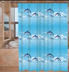Rèm Phòng Tắm / Rèm Cửa Sổ Họa Tiết Cá Heo Xanh 180cm X 180cm Loại 1