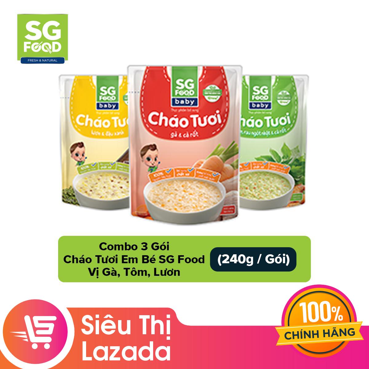 [Siêu thị Lazada]Combo 3 Gói Cháo Tươi Em Bé Sài Gòn Food vị Gà Tôm Lươn (3 gói x 240g)