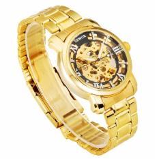 Đồng hồ cơ nam dây thép mạ vàng SEWOR 91120B