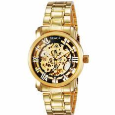 Đồng hồ cơ nam dây thép mạ vàng SEWOR 91120c