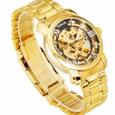 Đồng hồ cơ nam dây thép mạ vàng SEWOR 91120d