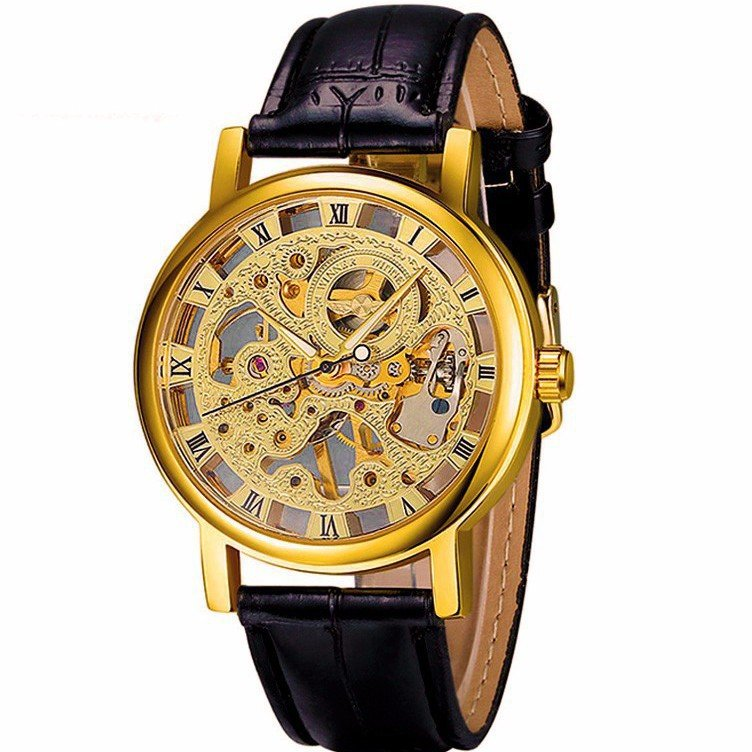 Đồng hồ cơ nam lộ máy dây da WINNER WE1104 (đen)