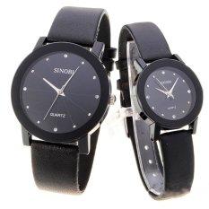 Đồng hồ đôi dây da Sinobi 98KN1 (Đen)
