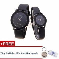 Đồng hồ đôi dây da Sinobi 98KCN1 (Đen) + Tặng pin Nhật, móc khoá Khôi Nguyên