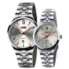 Đồng hồ đôi dây kim loại SKMEI 0511.06NA (Trắng)