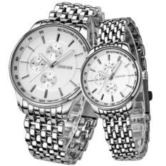 Đồng hồ đôi dây thép không gỉ Sinobi 9268 (Trắng)