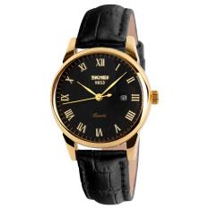 Đồng hồ nữ dây da Skmei 9058CL (Mặt đen dây đen viền vàng)