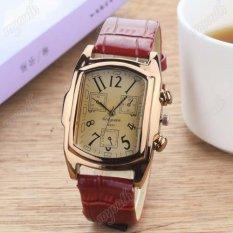 Đồng hồ nam dây da mặt chữ nhật Geneva GE029-1 (nâu đỏ)