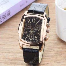 Đồng hồ nam dây da mặt chữ nhật Geneva GE029-2 (đen mặt đen)
