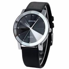 Đồng hồ nam dây da mặt kính 3D chống xước SINOBI DHN07 (Đen)