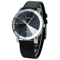 Đồng hồ nam dây da Sinobi kính 3D (đen)