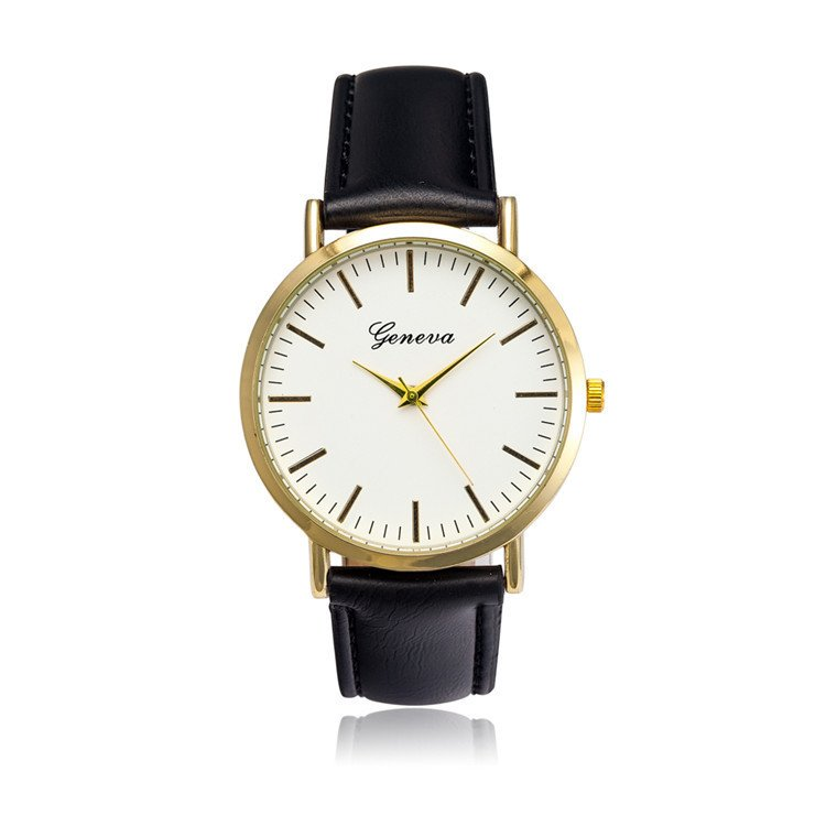 Đồng hồ nam dây da tổng hợp Geneva GE021-1 (Đen trắng)