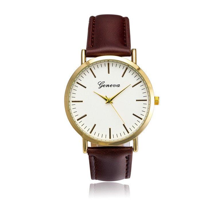 Đồng hồ nam dây da tổng hợp Geneva GE021-2 (Nâu trắng)