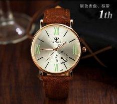 Đồng hồ nam dây da tổng hợp Yazole YA001-6 (Nâu mặt ngà)