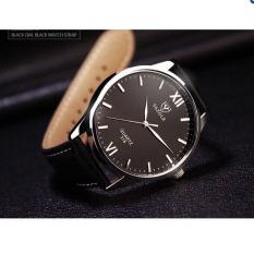 Đồng hồ nam dây da Yazole YR318 – KS539 (Đen – Mặt Đen).