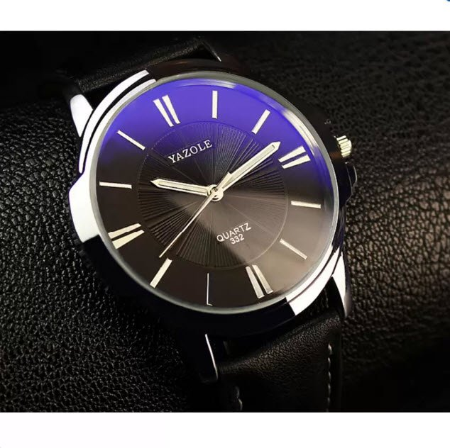 Đồng hồ nam dây da Yazole YR332 (Đen mặt xanh)