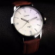 Đồng hồ nam dây da Yazole YR332 (Nâu mặt trắng)