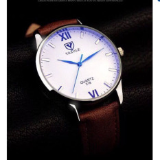 Đồng hồ nam dây da Yazole YR332 NK516 (Nâu mặt trắng)