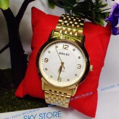 Đồng hồ nam dây kim loại HALEI 553M chống nước tốt (Mặt trắng)