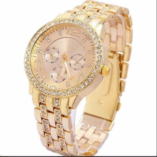Đồng hồ nam dây thép nạm kim cương Geneva New Arrival 2016 (Vàng)