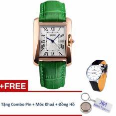 Đồng hồ nữ dây da Skmei 10K0N85 (Xanh Lá) + Tặng Đồng Hồ Nữ KN; Pin; Móc Khoá