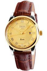 Đồng hồ nữ dây da Skmei 9058 (Nâu mặt vàng)