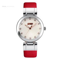Đồng hồ nữ dây da Skmei 9086 (Mặt trắng dây đỏ)
