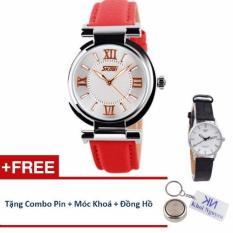 Đồng hồ nữ dây da Skmei 90KCN75 (Đỏ) + Tặng Đồng Hồ Nữ Swidu; Pin Nhật; Móc Khoá