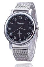 Đồng hồ nữ dây hợp kim Geneva GE001-4 (Bạc mặt đen)