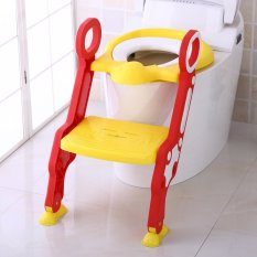 Ghế ngồi bồn cầu cho bé có thang vịn cho bé tự đi vệ sinh