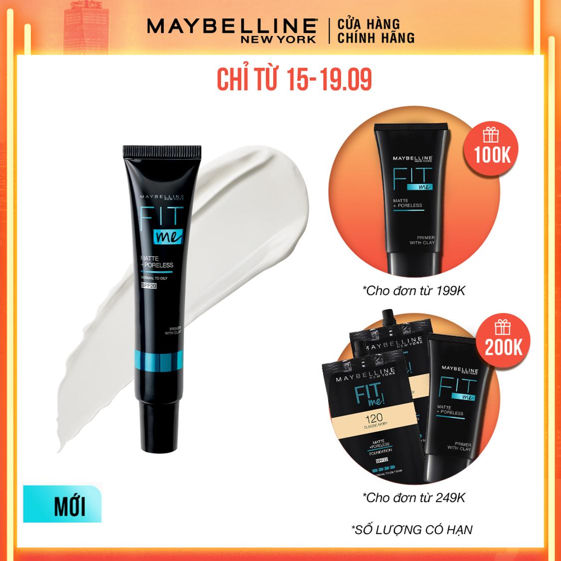 [Sản phẩm mới] Kem Lót Kiềm Dầu Ngăn Xuống Tông SPF 20 Fit Me Primer Matte+Poreless Maybelline New York 30ml