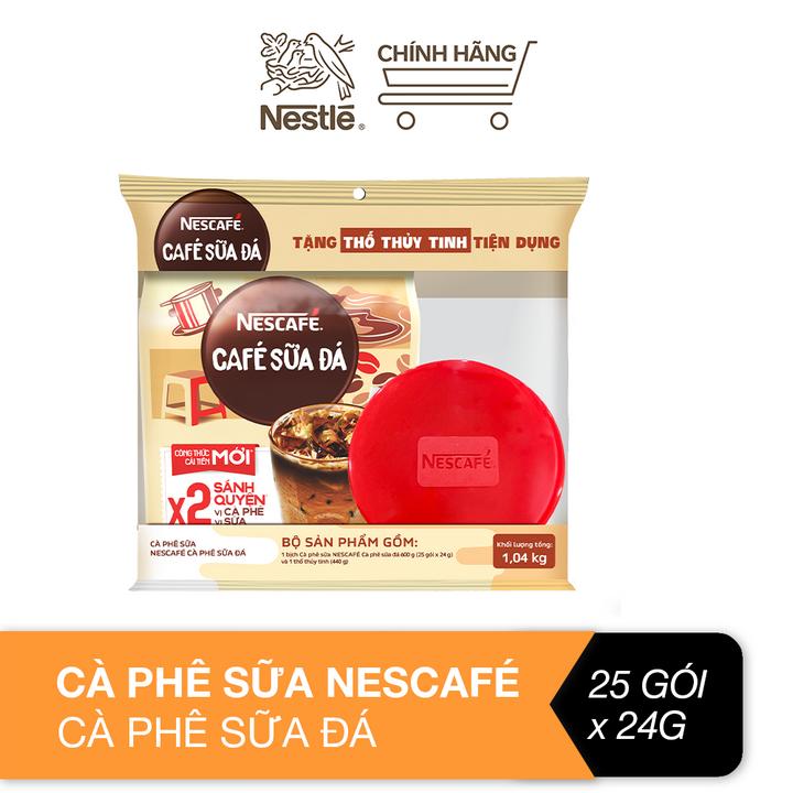 [Tặng thố thủy tinh tiện dụng] Cà phê sữa Nescafé cà phê sữa đá (Bịch 25 gói x 24 g)