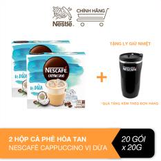 [Tặng ly giữ nhiệt] Combo 2 hộp cà phê hòa tan Nescafé Cappuccino vị dừa (Hộp 10 gói x 20g)