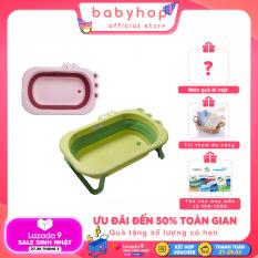 Chậu tắm cho bé Babyhop gấp gọn làm từ nhựa nguyên sinh, thau tắm cho bé từ 0- 6 tuổi thành cao size lớn