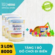 Bộ 3 lon Sản phẩm dinh dưỡng y học 3 lon Nutren Junior cho trẻ từ 1-10 tuổi 800g + Tặng 1 bộ đồ chơi đi biển