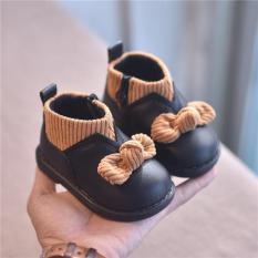 Giày da bé gái cao cổ phối len đính nơ siêu đẹp cho trẻ em gái