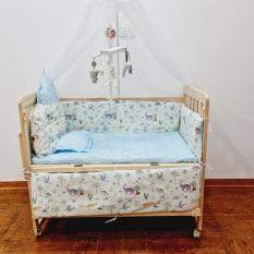 Cũi nôi cho bé – cũi gỗ thông, 2 tầng, có màn, quây nệm hoàng gia, có bánh xe, có thể chuyển thành nôi lắc lư. KAWAII HOME