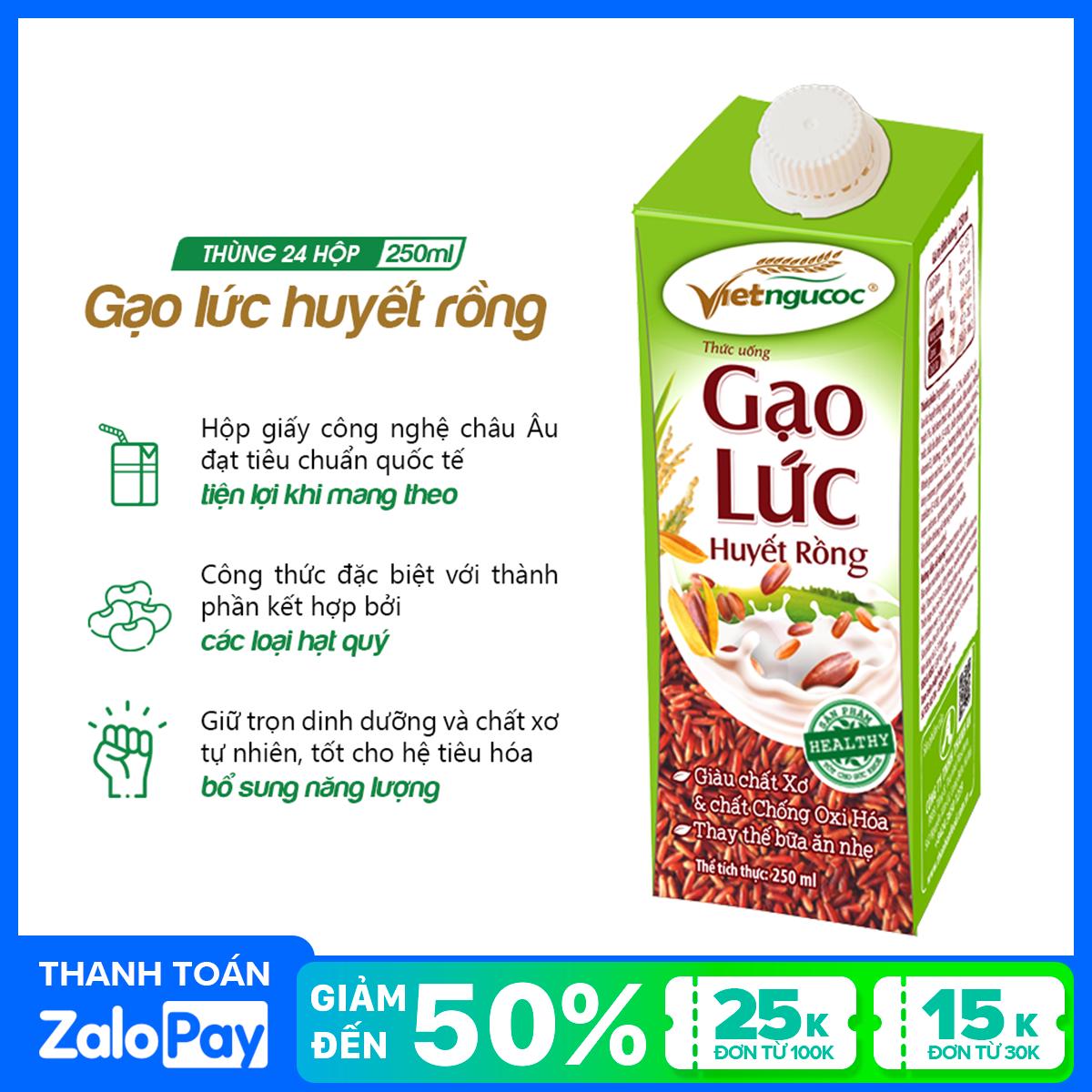 [Date 25.5.2021] Thùng 24 hộp thức uống Gạo lức huyết rồng Việt Ngũ Cốc – 250ml/hộp
