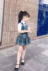 [Kho buôn] ĐỒNG_PHỤC đi học set 3 chi tiết cho bé gái, bộ đồ bé gái, đầm bé gái, áo bé gái