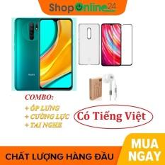 Combo Điện thoại Xiaomi Redmi 9 4/64Gb + Ốp lưng + Cường lực + Tai nghe – Hàng nhập khẩu