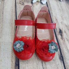Giày búp bê đính 2 bông hoa cho bé