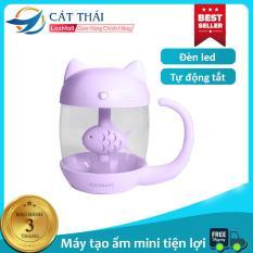 Máy tạo ẩm / máy phun sương con mèo thích con cá kết nối cổng USB cực dễ thương Kết nối cổng USB , có đèn led dùng làm đèn ngủ