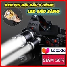 Đèn Pin Siêu Sáng Chiếu Xa 1500M – (Đèn Tốt )Đèn Pin Đội Đầu Siêu Sáng – Đèn Pin Led Siêu Sáng Đội Đầu 3 Bóng (Đen) Nhiều Chế Độ ,Tặng Kèm Pin Và Sạc