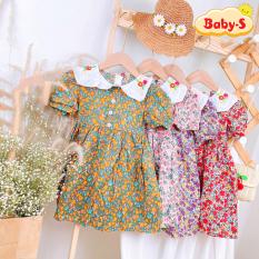[HCM]Đầm xòe cho bé gái Váy hoa nhí cho bé 1-7 tuổi tay phồng họa tiết đủ màu sắc tươi tắn phối cổ thêu hoa đáng yêu Baby-S – SD064
